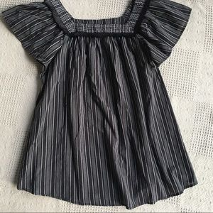 Isabel Maternity Black Striped Peasant Tunic Top